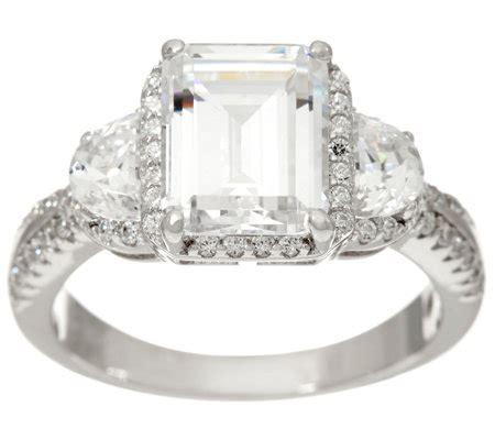 diamonique emerald cut bridal ring sterling page 1