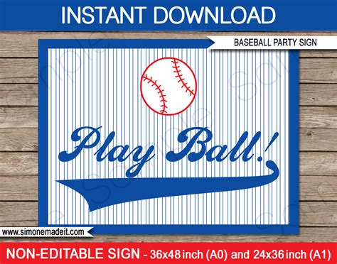 baseball party printables invitations decorations