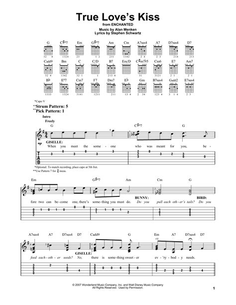 love theme kiss tab true love s kiss by alan menken easy guitar tab guitar