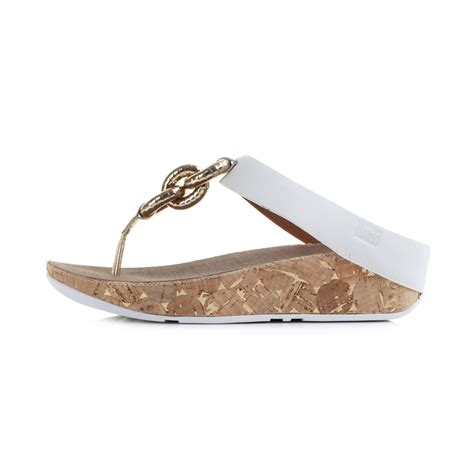 Sneaker Wedges 070 womens fitflop superchain leather white comfort flip flops size ebay