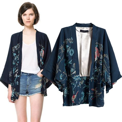 Japan Style Blazer 1 brand new autumn s japanese style blue peacock print batwing sleeve kimono jacket s m