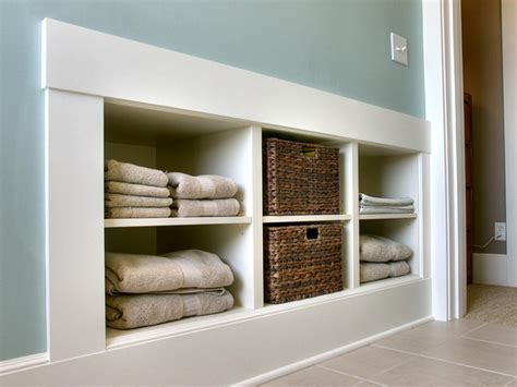 built in wall shelves bathroom laundry room storage ideas diy home decor and decorating