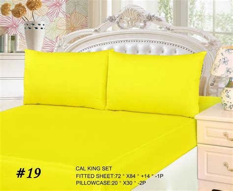 Yellow Bed Sheets by Tache Cotton Solid Neon Bright Yellow Lemon Fitted