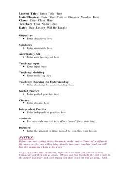 lesson plan template madeline hunter s model by red