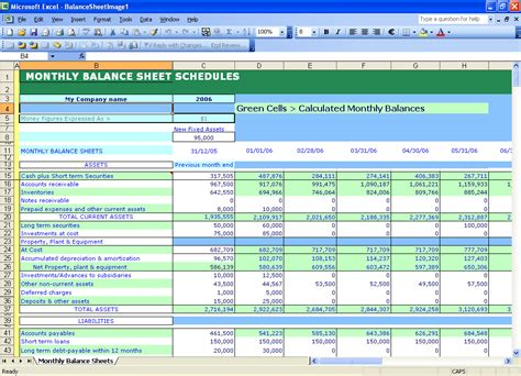 Excell Templates by Excel Templates Self Calculating Balance Sheets
