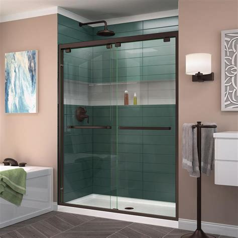 Sliding Glass Doors Shower Shop Dreamline Encore 56 In To 60 In W Frameless Rubbed Bronze Sliding Shower Door At Lowes