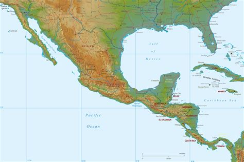 map of mexico and america physical map of mexico and central america