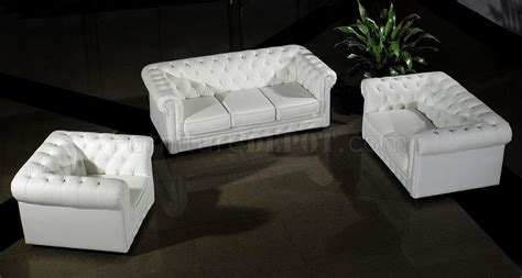 leather ultra modern 3pc living room set 3 white