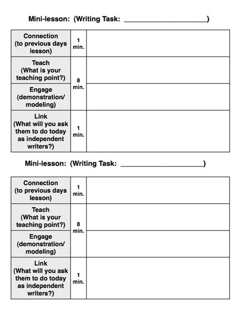 Mini Lesson Plan Template by Writer S Workshop Model