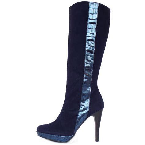 kaiser tilla high heel navy suede boots