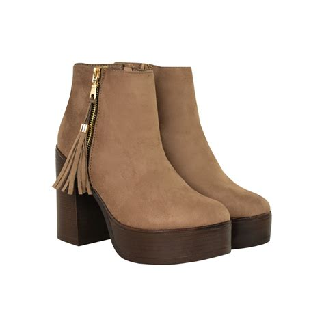 shoes high heels boots mocha brown suede tassel zip detail chunky block high