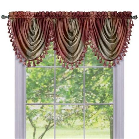 Burgundy Waterfall Valance achim ombre waterfall 42 in l polyester valance in burgundy omwfvlbu06 the home depot
