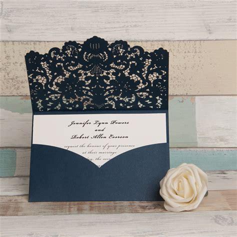 Wedding Invitations Laser Cut by Navy Laser Cut Wedding Invitations Pocket Style Wedding