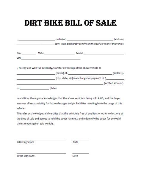 Bike Sale Receipt Template by Free Printable Atv Utv Dirt Bike Bill Of Sale All