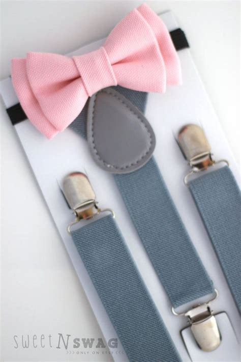 light up bow tie and suspenders suspender bowtie set light grey suspenders blush pink