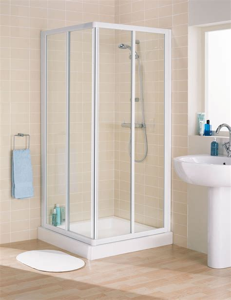 Lakes Classic Silver Frame Corner Entry Enclosure 750x1850 Showers Cubicles In Small Bathroom