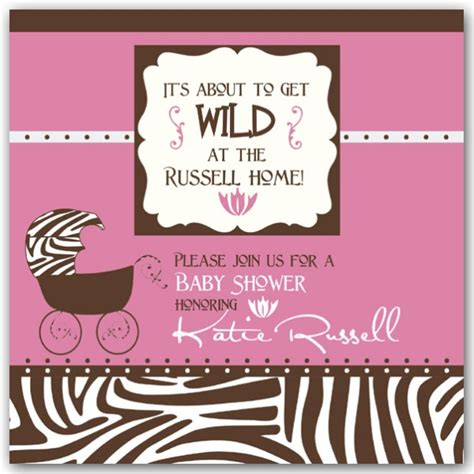 Zebra Pink Baby Shower by Frame Zebra Pink Baby Shower Invitations Paperstyle
