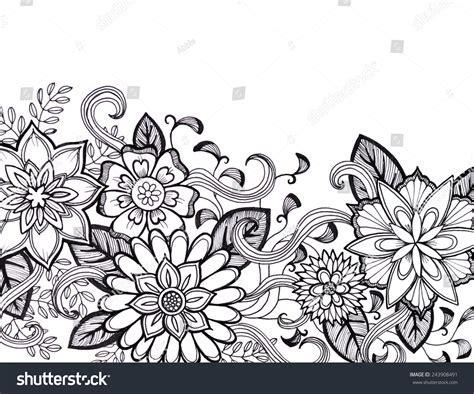 how to draw a doodle flower flower design black ink stock illustration
