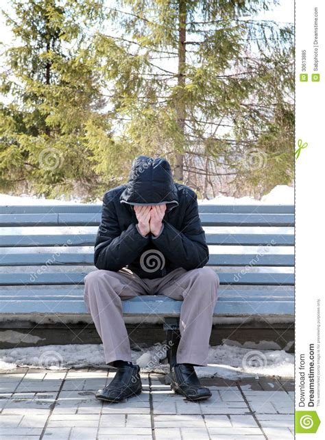 sad man on the bench royalty free stock photo image
