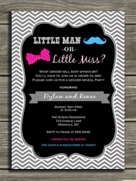 Chevron Gender Reveal Party Invitation Baby Shower Mustache And Bow Free Printable Gender Reveal Invitation Templates