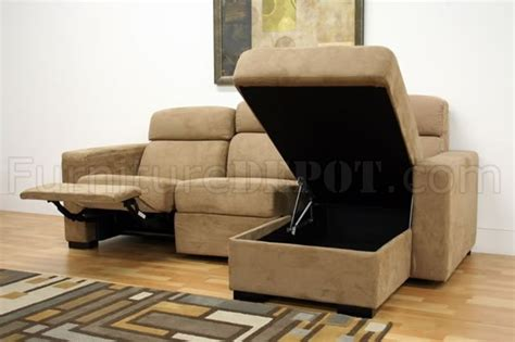 chaise recliner lounge tan microfiber modern reclining sectional sofa w storage