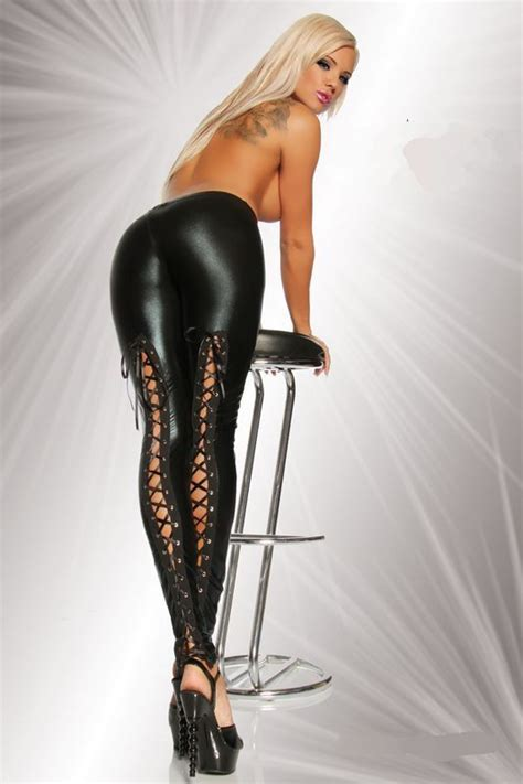 Lace up wet look leather leggings gothic tight pants