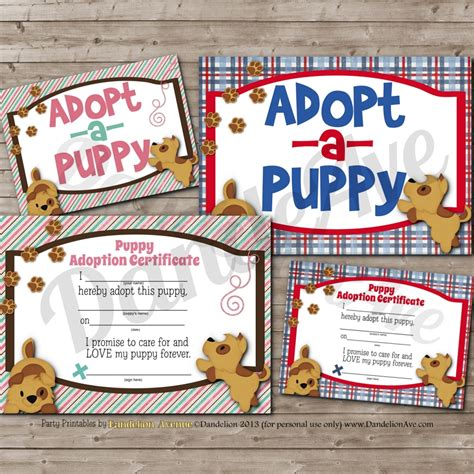 puppy adopt adopt a puppy adoption certificate and sign set dandelion avenue