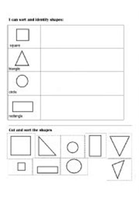 worksheets sort and classify shapes cut and paste