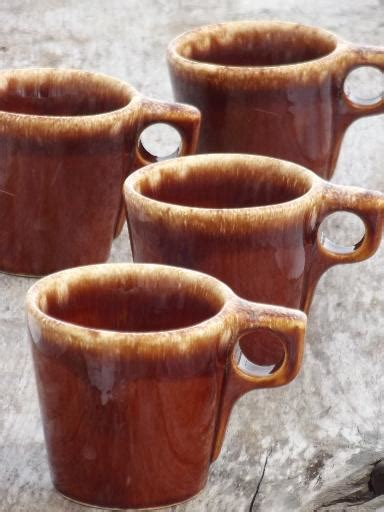 Rustic Coffee Mugs by Vintage Hull Brown Drip Glaze Pottery Mugs Oven Proof