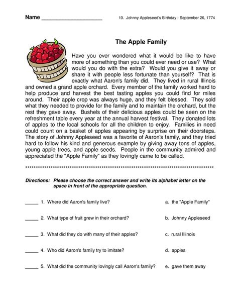 reading comprehension test short short story with comprehension questions english reading