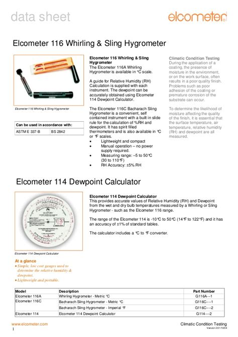 Jual Elcometer 116 Whirling Hygrometer elcometer 116 whirling sling hygrometers instruments are designed to