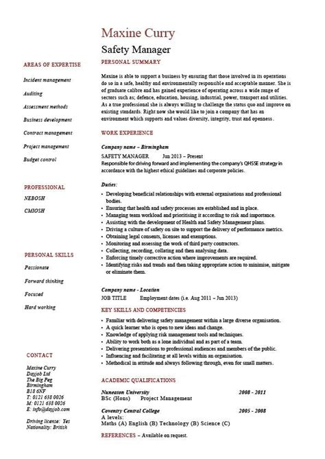 ehs resume exles safety manager resume sle exle description