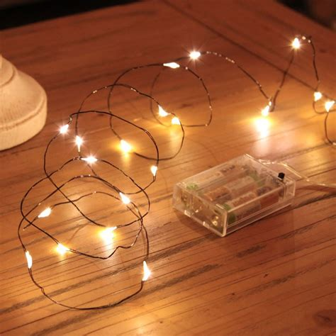 wire lights micro battery led lights on black wire 20 warm white leds