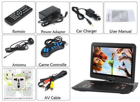 dvd player that plays every format 15 6 inch portable dvd player 270 degree swivel screen usb