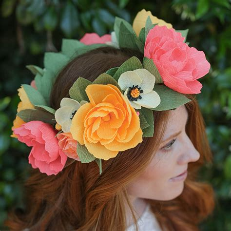 How To Make A Paper Headband - diy crepe paper flower headband lia griffith