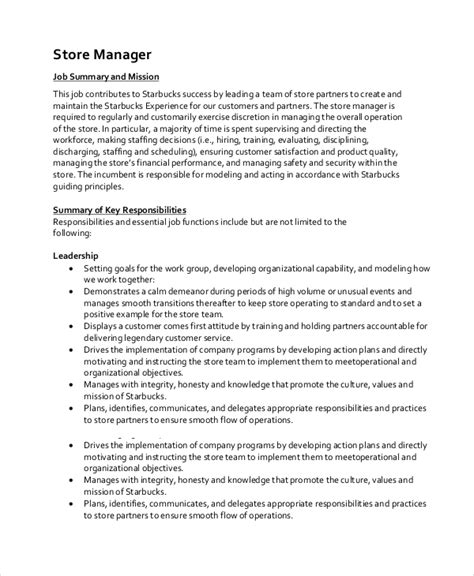 10 Sle Manager Job Description Templates Pdf Doc Free Premium Templates Store Manager Description Template