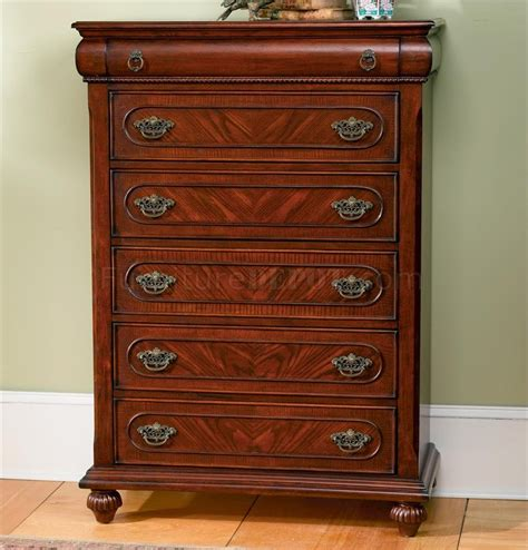 cherry finish classic antique style bedroom with carving