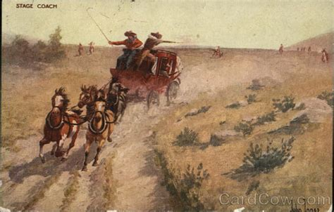 And Being Loved And Being Chased Real Comic and stage coach being chased cowboy western postcard