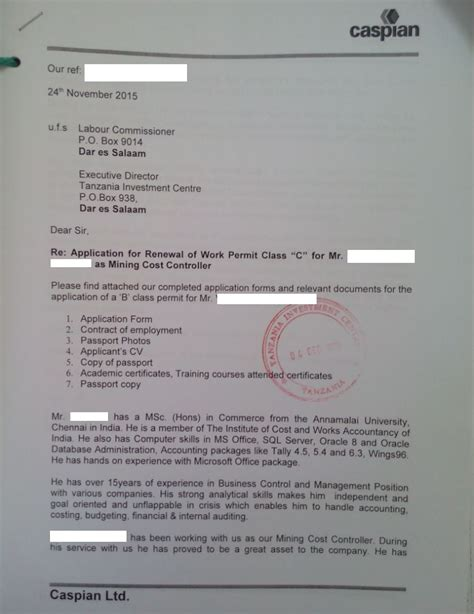 Letter For Work Permit Tanzania Investment Centre