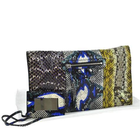 Balenciaga Swarovski Evening Bag by Balenciaga Multi Color Snakeskin Fold Envelope