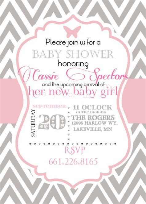 pink baby shower invitation templates i do on a dime free template for pink and grey cheveron