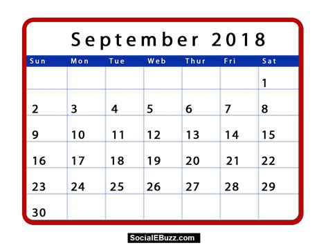 september 2018 calendar printable template with holidays