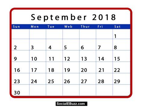 Calendar Docs Template 2018 September 2018 Calendar Printable Template With Holidays