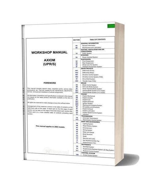 Isuzu Axiom 2002 Workshop Manual