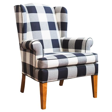 black and white check armchair black white buffalo check wingback chair chairish