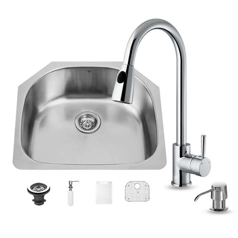 undermount kitchen sink with faucet holes vigo all in one undermount stainless steel 24 in 0 hole