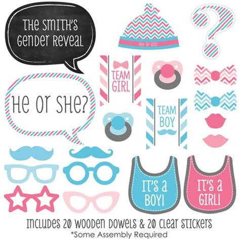 free printable gender reveal photo booth props gender reveal baby shower photo booth props kit 20 props