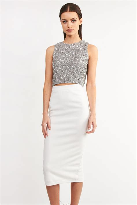 Embellished And Bejewelled Tops And Dresses by Lace Picasso Grey Embellished Dress Dresses