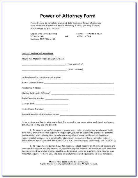 power  attorney template general