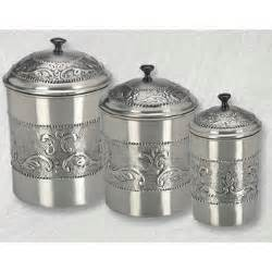 Canister Kitchen Set pewter plated 3 piece embossed steel canister set 11915373